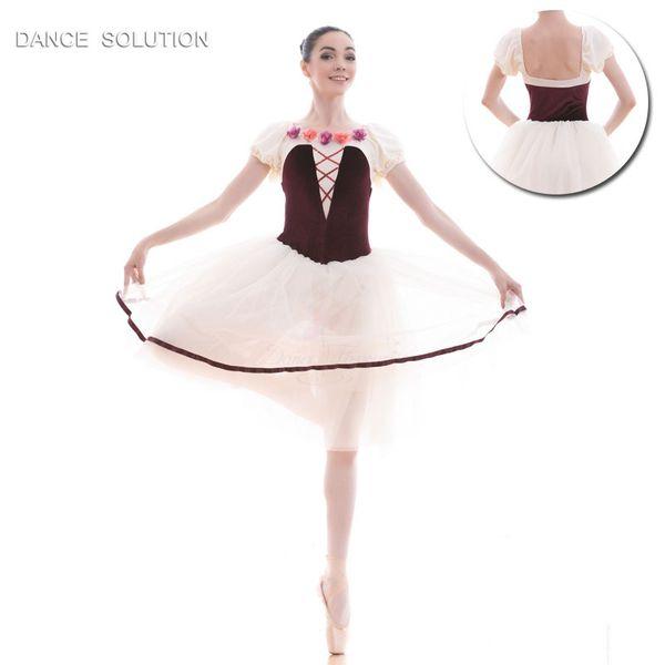 Burgundy Velvet Puff Sleeve Ballet Long Tutu Stage Performance Dance Costumes Tutu Girl & Women Dancewear Ballerina