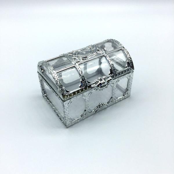 100pc grade golden ilvery tran parent pla tic trea ure che t wedding candy box gift boxe lin3736