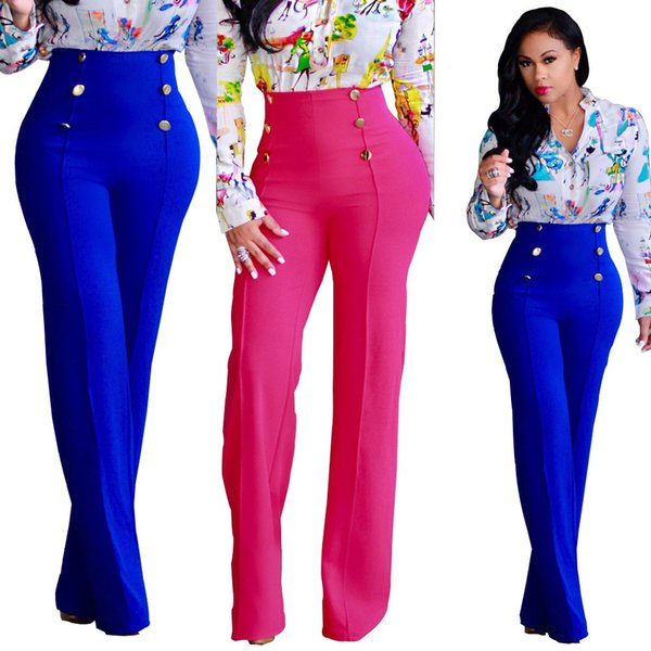 Women Blue Wide Leg Chiffon Pants High Waist Trousers Palazzo OL Pants Long Culottes Pants