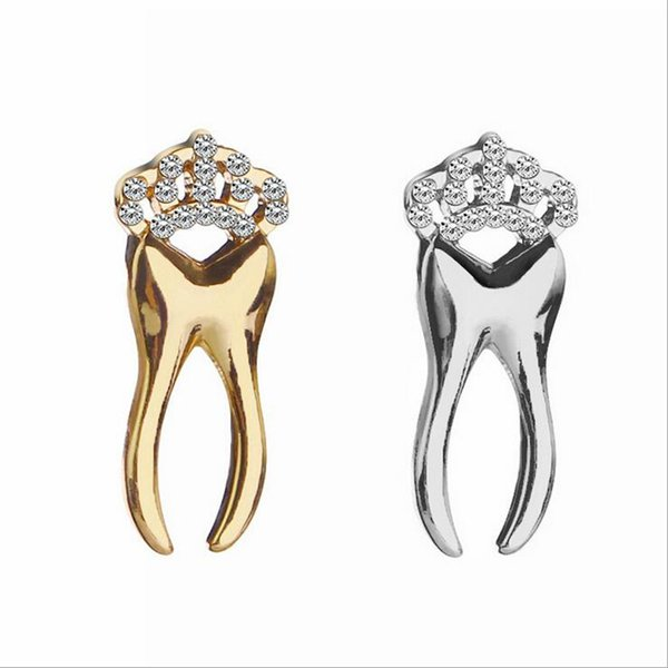2018 Fashion Personality Crown Tooth Crystals Brooches Pins For Wedding Unisex Jewelry Accessories