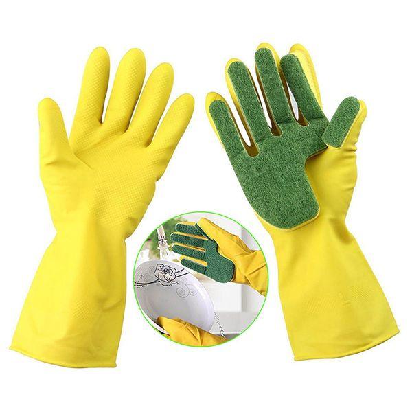 Neue Reinigungs-Handschuh-Schwamm-Finger-Scrub-Scheuerschwämme All-in-One für Hauptküche Dauerhafte Gummi-Mehrzweckmagie-Schwamm-Handschuhe geben Verschiffen frei