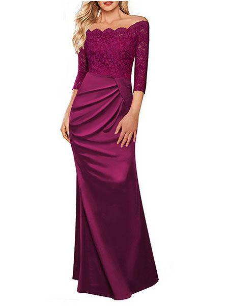 Fashion Women Clothes Party Dress Lace Elegant Evening dress purple Pleated Cocktail Dress 3/4 sleeve Floor Length Crew Neck bridemaid xmas