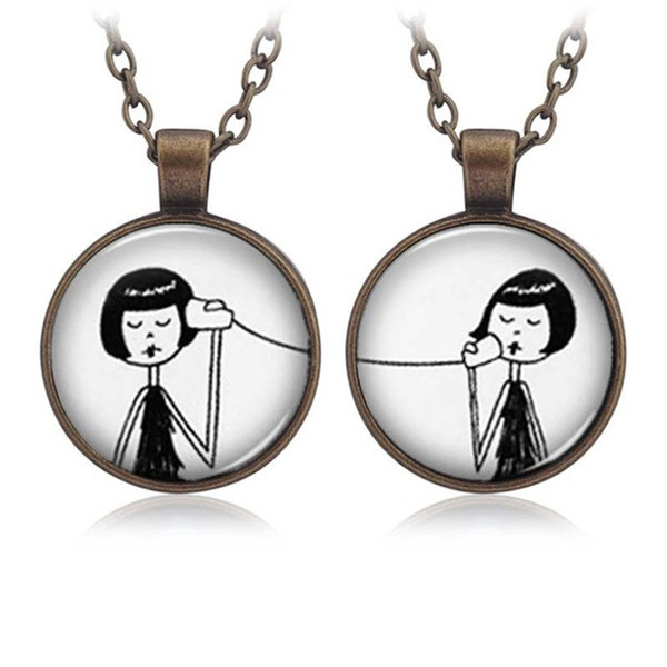 Phone Call Girl Connector Long Necklace 2PCS Set Baby Sister Best Friend BBF Necklace Resin Alloy Cute Pattern Key Chain Gift Friendship