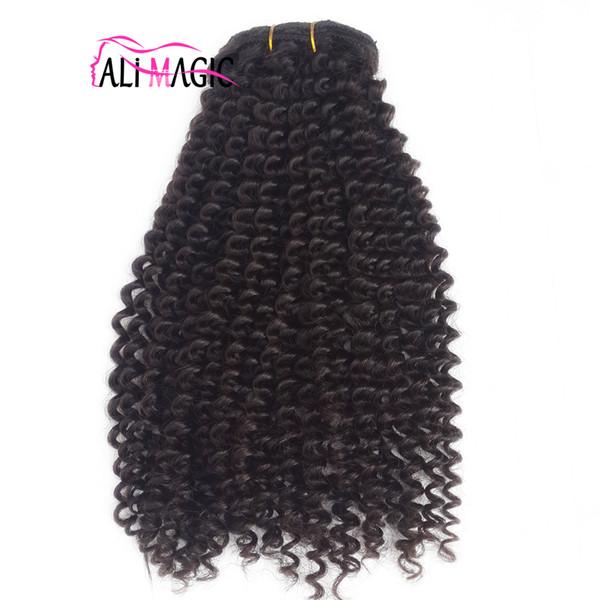 8pcs mongolische Jungfrau Haar Afroamerikaner Afro verworrene lockige Haar Clip in Menschenhaar Erweiterungen natürlichen schwarzen Clips Ins einfach