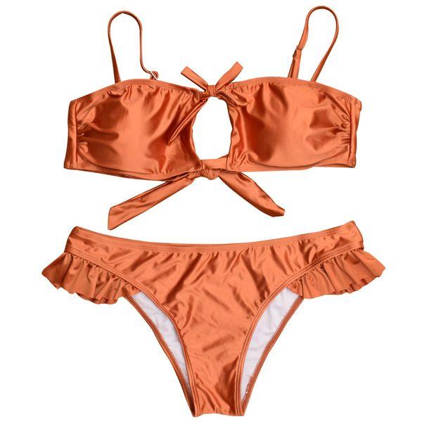 New beach wear Europe and America swimsuit High Quality Women Water Sports Swimwear sexy smooth fabric Tie Bikinis Set for girls