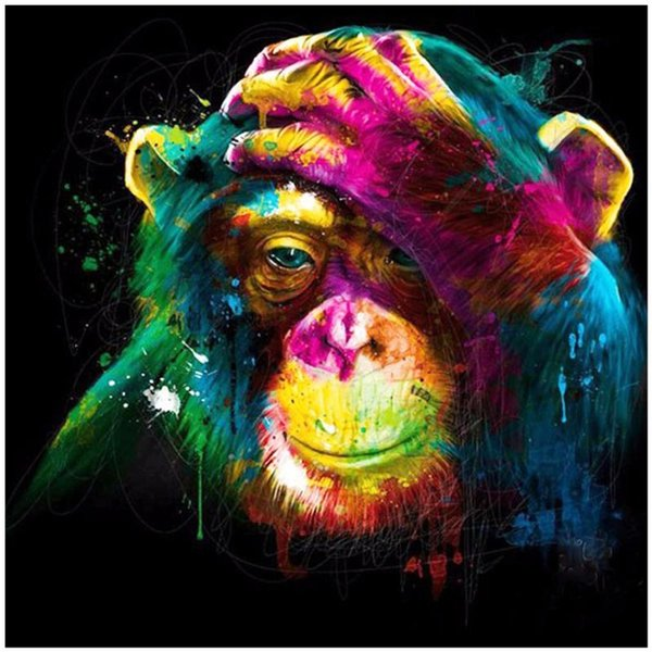 Monkey Touch Head 5D DIY Diamond Painting Full Square Round Diamond Embroidery Inlay Art Fashion Crafts Gift Party Home Decoration