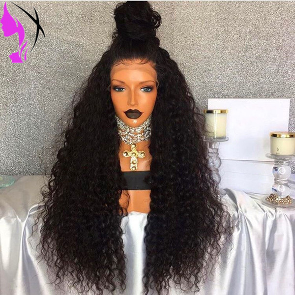 Hotsales Long Kinky Curly Synthetic Lace Front Wigs For Black Women Hand Tied Natural free Part African American Wigs with baby hair
