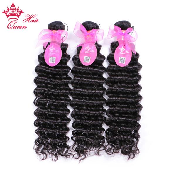 Королева волос бразильский глубокая волна девственные волосы машина двойной уток 100% человеческих волос ткачество природа цвет 10-28 дюймов Бесплатная доставка BH703