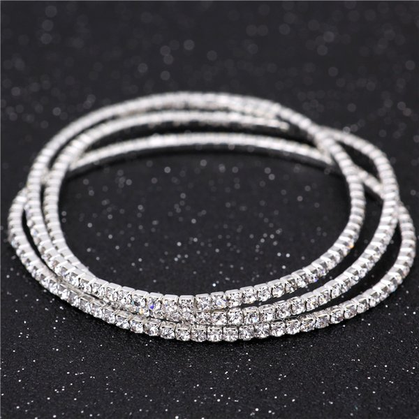 whole sale3Pcs 925 Stering Silver Plated Slim Cluster Prong Setting CZ Tennis Link Chain Thin Bracelet Bangle Fashion Women Girls Jewelry
