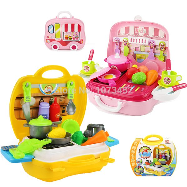 26pcs/set Kids kitchen cooking play set portable cabinet design pakage play house toy pretend set toy gift for children