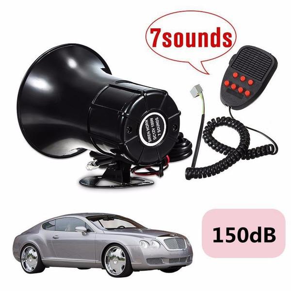 DHL 10PCS Loud 12V 100W 7 Sonidos 150dB Tone Horn Siren Speaker Alarm para Car Van Truck Boat (Color: Negro)