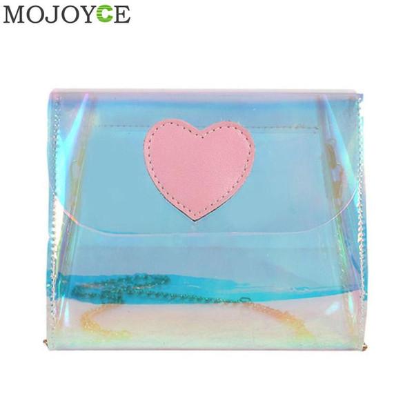 Women Holography Laser Messenger Bag Transparent Plastic Crossbody Bags for Women PVC Shoulder Bag Fashion Designer Handbags New