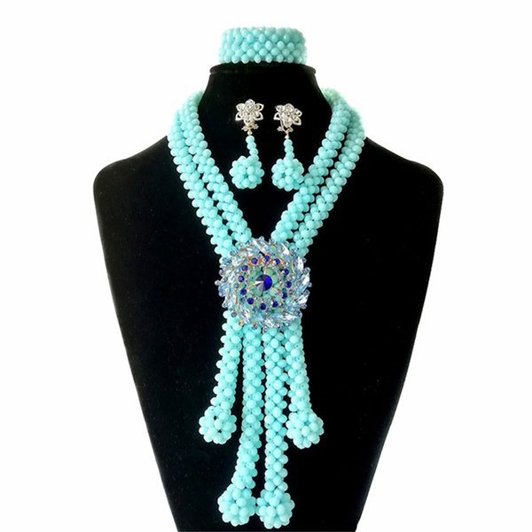 Light Blue African Crystal Beads Jewelry Set Wedding Jewelry Bridal Necklace Nigerian Jewelry Set for Women Free Shipping