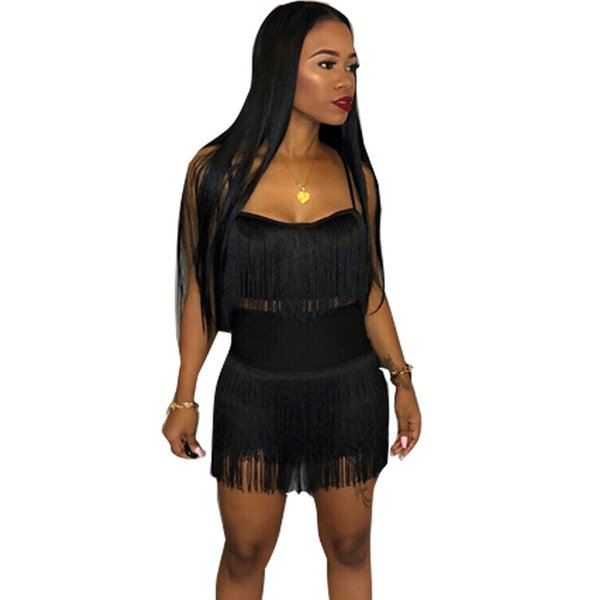 Black Red Sexy Spaghetti Strap Tassel 2 Two Piece Set Off Shoulder Canotta Club Bandage Bodycon Mini gonna Donna Set Outfit