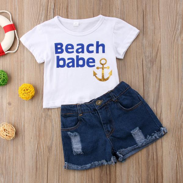 Baby Sommer Jungen Anker Oufits T-shirt + Jeans 2 STÜCKE set Kinder Jungen Sportswear Casual Kinder Jungen Boutique Kinderkleidung