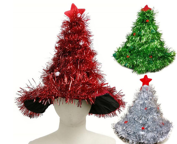 Christmas Tree Style Hats Tree With Star Christmas Caps For Adult New Kids Gifts Home Party Supplies Accessories