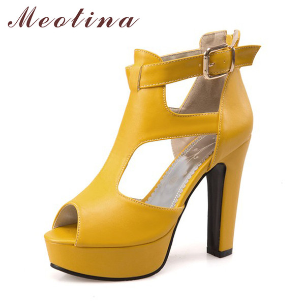 Meotina Shoes Women Gladiator Shoes High Heel Sandals Autumn Summer Peep Toe T-Strap Platform High Heels Zip Yellow Size 12 46