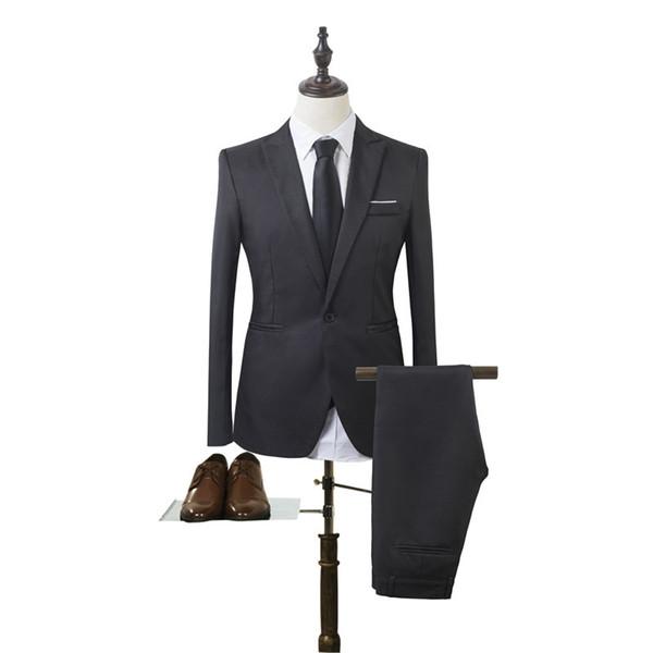 LEQEMAO 2018 New Product Man's Suit 2 Pieces Solid Color Single Button Fashion Business Suit Self-cultivation Leisure Time