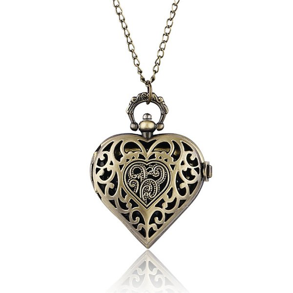 Nurse Watches Beautiful Heart Shape Quartz Pocket Watch for Woman Lady Girl Girlfriend Wife Necklace Unique Gifts 2018
