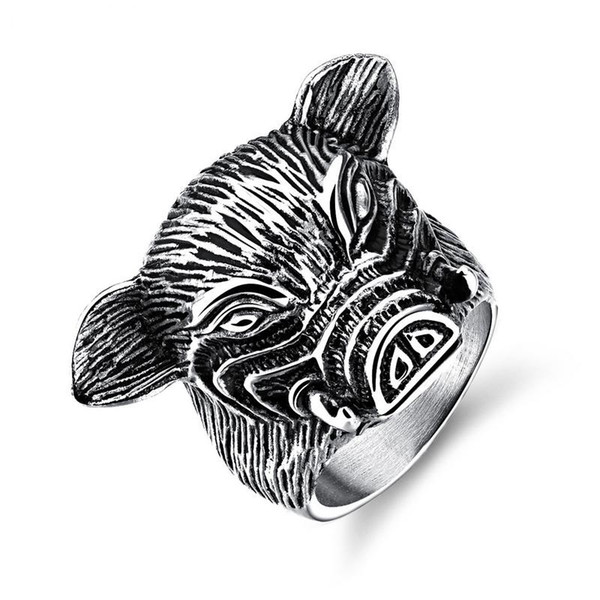 12 Chinese Zodiac Pig Fashion Simple Men's Animal Rings Stainless Steel Ring Jewelry Gift for Men Boys 587