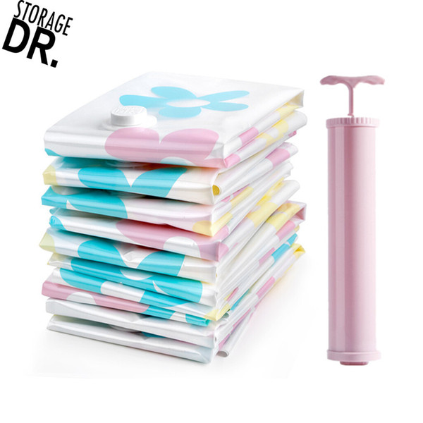 DR STORAGE 11pcs/set Vacuum Bags for Clothes Storage Bag Travel Vacuum Pump Space Saver Underwear Sac Compression Organizer