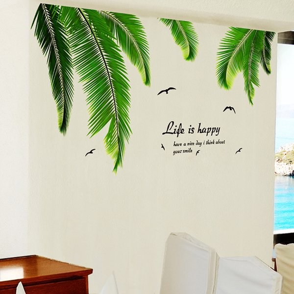 Palm Tree Leaves Wall Sticker Vinyl DIY Hawaii Tropical Raffia Furniture Mural Sticker for Living Room Wall Decals