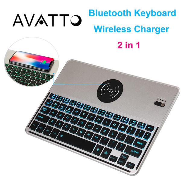 [AVATTO] 7 Color Backlit Bluetooth Wireless Mini Keyboard with Fast Charger for Android IOS Phone Tablet ipad Laptop PC TV Box