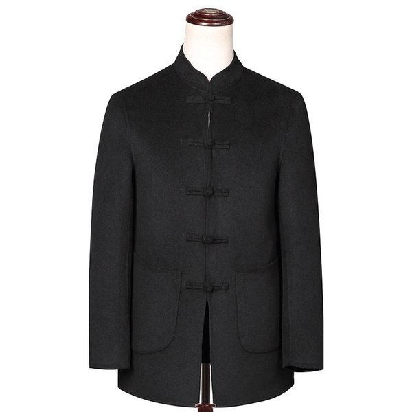 A6 New Fashion middle-aged and old men's wool woolen Chinese tunic suit Double-sided Wool coat Thickened loose Overcoat