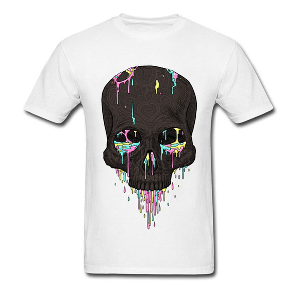 Summer Candy Drips Skull Men's T Shirt 2018 Discount Men's Top Quality O Neck 100% Cotton T-Shirt Birthday Tshirts