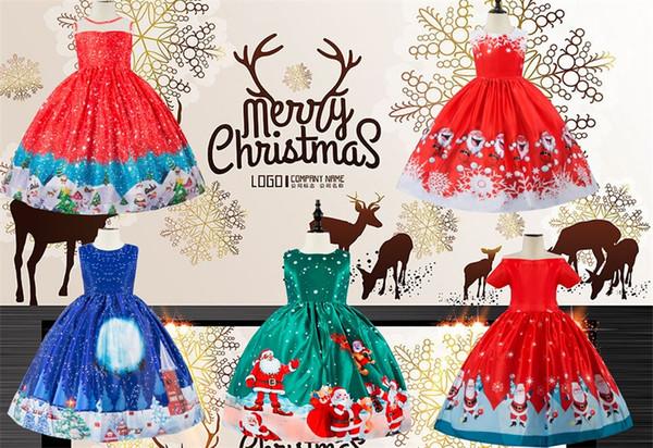 Fashion Christmas Cartoon Girl's Dress Santa Snowflake Print Princess Dress Lace Panel Cute Dress K 1