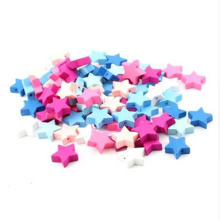 40pcs Wooden Star Spacer Beading Beads 20x19mm for Baby DIY Crafts Kids Toys & Pacifier Clip Wood Bead Bracelet