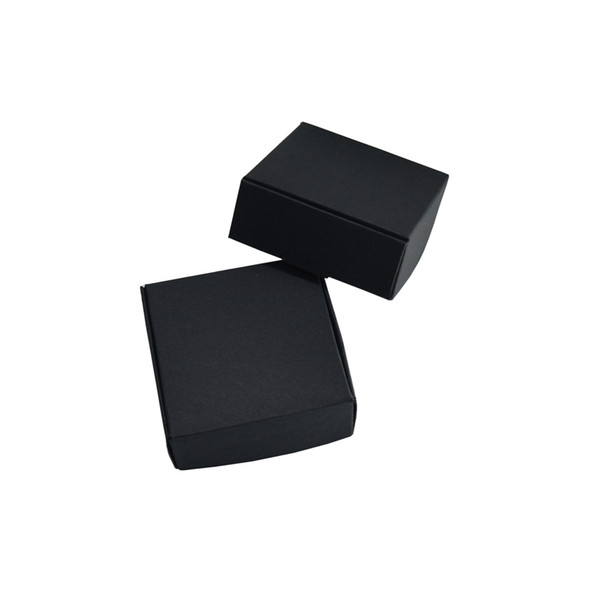 50pcs/lot 5.5*5.5*2.5cm Black Craft Paper Gift Storage Box Jewelry Party Decoration Small Carton Candy Cookies Grocery Packing Package Box
