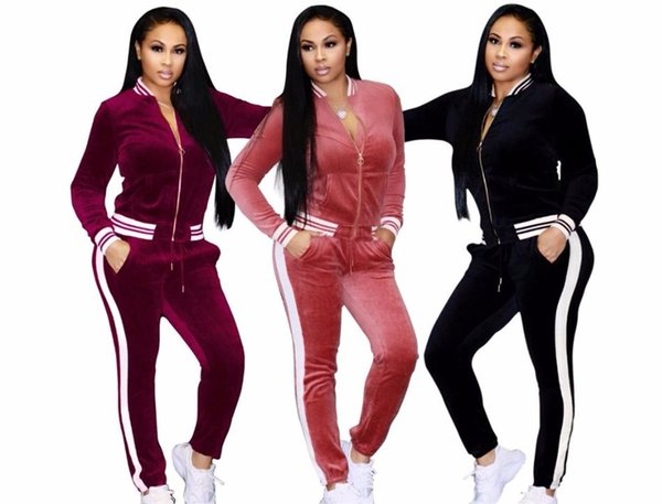 Velvet Sportsing Suit Female Autumn High Quality Clothing Casual Home suit wear Female NB3-052