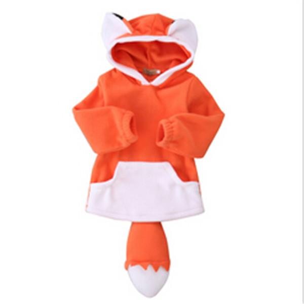 2017 New Baby Boys Girls Coat Hoodie Jacket Sweater Pullover Cartoon Fox Outwear Autumn and winter Hoodie Coat Warm Fox Jacket