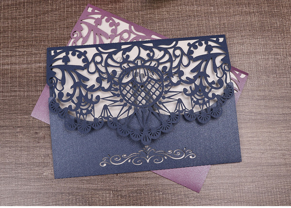 Wishmade Navy Blue Laser Cut Flora Lace Wedding Invitations Cards with Rhinestone for Birthday Baby Shower Engagement Wedding invites