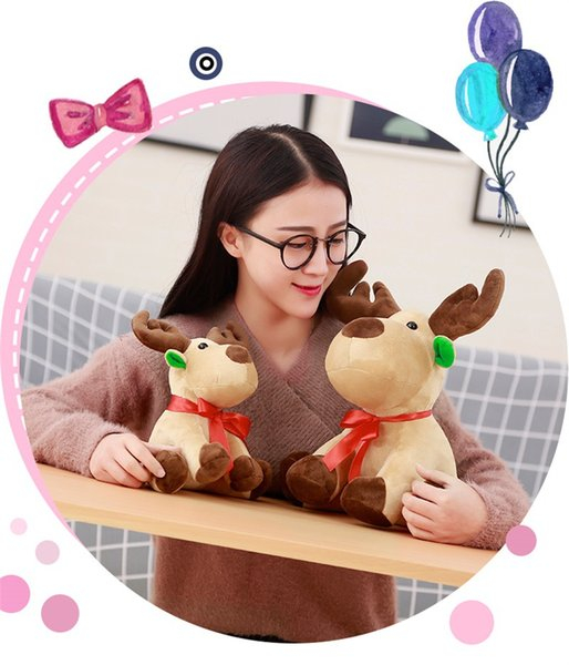 best selling Christmas Elk Lovely Stuffed Plush Toys Cushion Cartoon Xmas Deer Children Kids' Gift Animal Dolls Toys 25cm Free Shipping