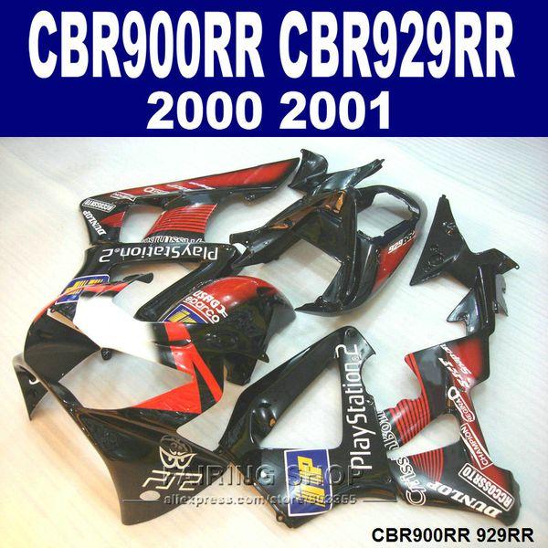 Heißer Verkauf Verkleidungen für Honda CBR900RR CBR929 2000 2001 schwarz rot Verkleidung Kit CBR929RR00 01 BV36