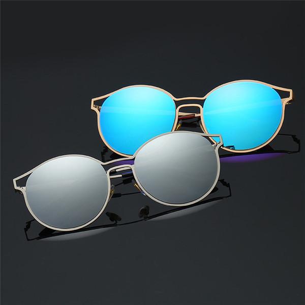 Man Women Round Sunglasses Metal Frame Sunglasses Brand Classic Tone Mirror Cycling Eyewear #2A19
