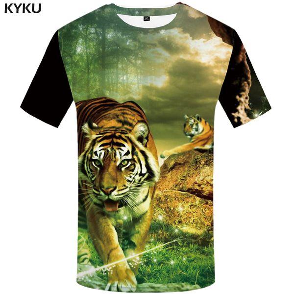KYKU Tigre T-shirt Dos Plus Tamaño Ropa de Bosque camisetas T-shirt Hombres 3d Hip hop Delgado Nuevo