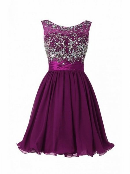 Purple Beading Short Pageant Evening Dresses Women's Chiffon Bridal Gown Special Occasion Prom Bridesmaid Party Dress 17LF339