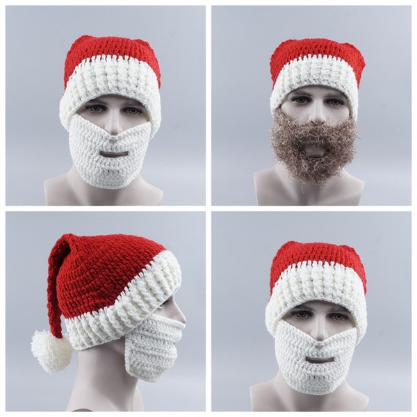 2018 Fashion Red White Wool Knit Santa Claus Christmas Beanies Hat Beanie Ski Face Mask Set For Men Women Unisex Free Size