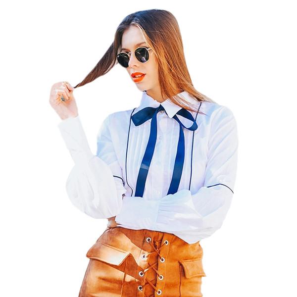 Autumn Spring Long Sleeve Women Shirts Bow Lantern Sleeve Blouse White Slim OL Office Shirts Ladies Tops Bow Button KH843169