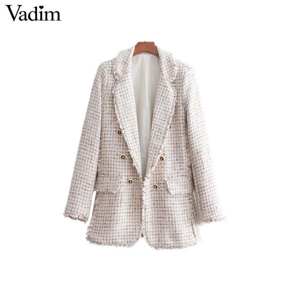 Vadim mulheres elegante tweed plaid blazer bolsos botão decorar borla casaco de manga longa feminino desgaste do escritório solto tops CA091