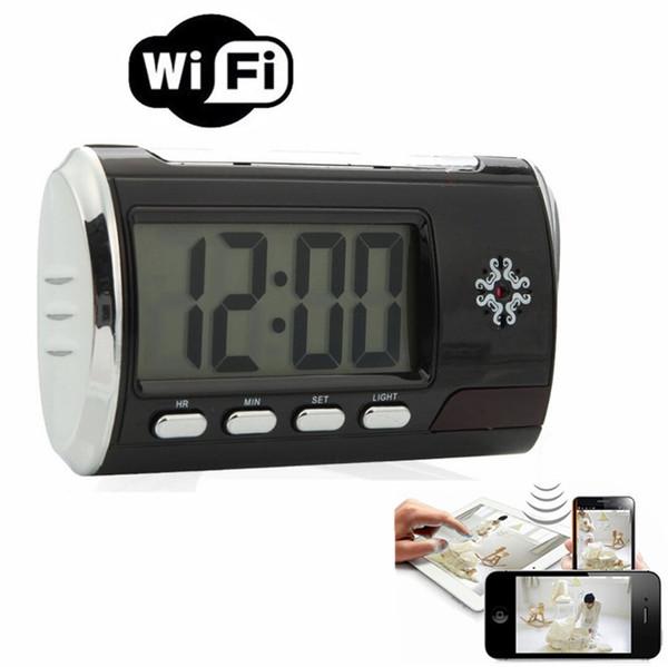 HD 1080P Wifi Alarm Clock Camera Mini Clock Camera Motion Detection Wireless Cameras Videos Recording Security Camera Nanny Cam with Box