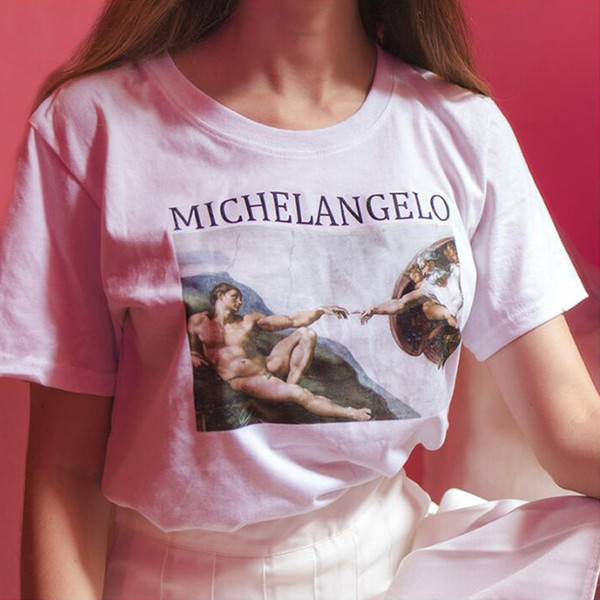ZSIIBO Michelangelo pattern women's shirt printing Harajuku ulzzang women's t-shirt retro art sketch female round neck shirt NVTX119