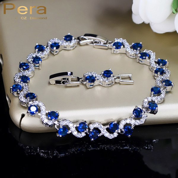 Pera 5 Color Options Fashion Ladies Sterling Silver Cubic Zirconia Royal Blue Stone Bracelets Jewelry For Christmas Gift B017 S915