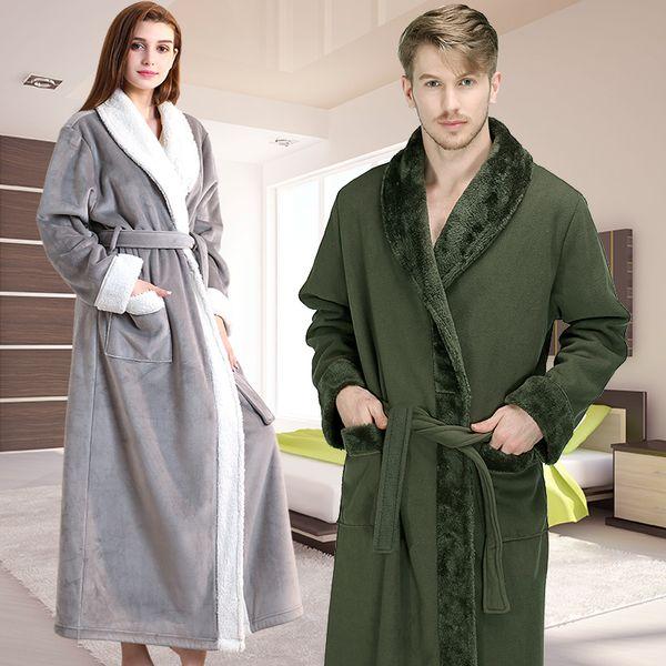Men Winter Extra Long Thick Warm Flannel Fleece Bathrobe Mens Luxury Kimono Bath Robe Women Sexy Fur Robes Male Dressing Gown