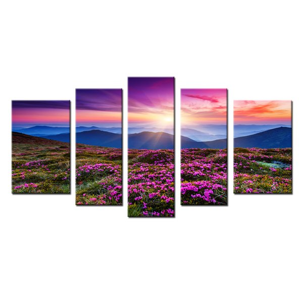 5 Panels Wall Art Painting Red Azaleas all over the Mountains Picture Print on Canvas with Wooden Framed Home Modern Decor Ready to Hang