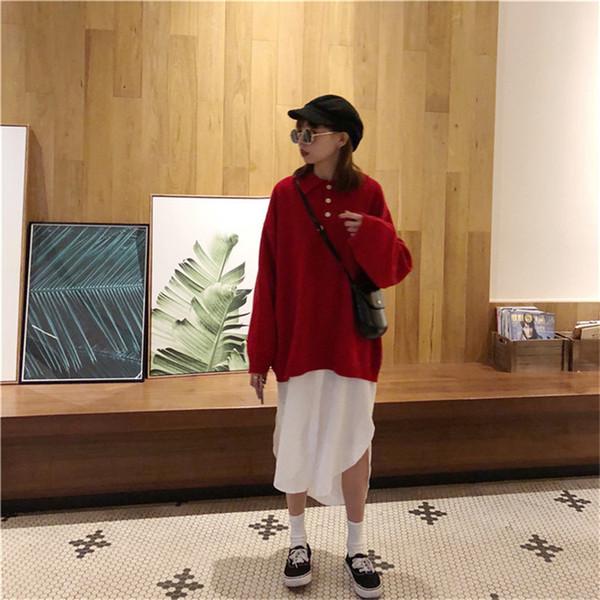 Осенний наряд Южная Корея показать тонкие лацканы, сплошной цвет поло воротник кнопки Установить свободную голову с длинным рукавом вязать свитер одежды