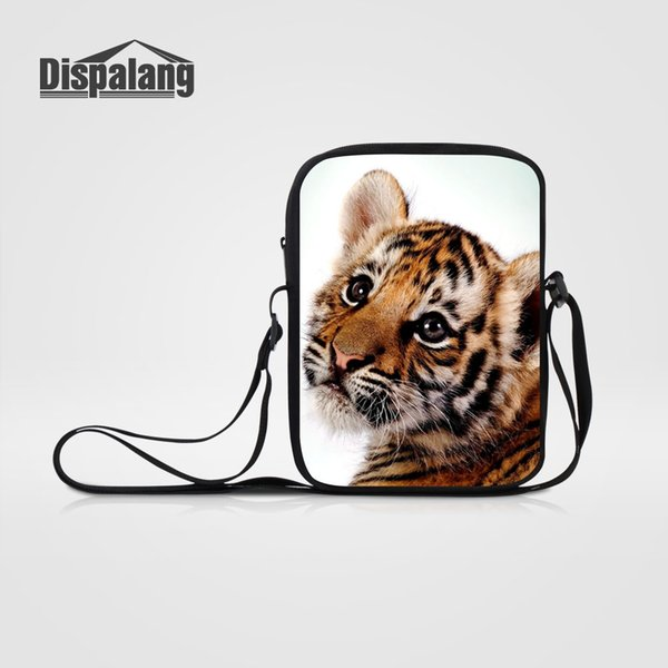 Dispalang Children Mini Cross Body Schoolbags Tiger Animal Printing Messenger Bags Women's Fashion Traveling Shoulder Bag Flaps